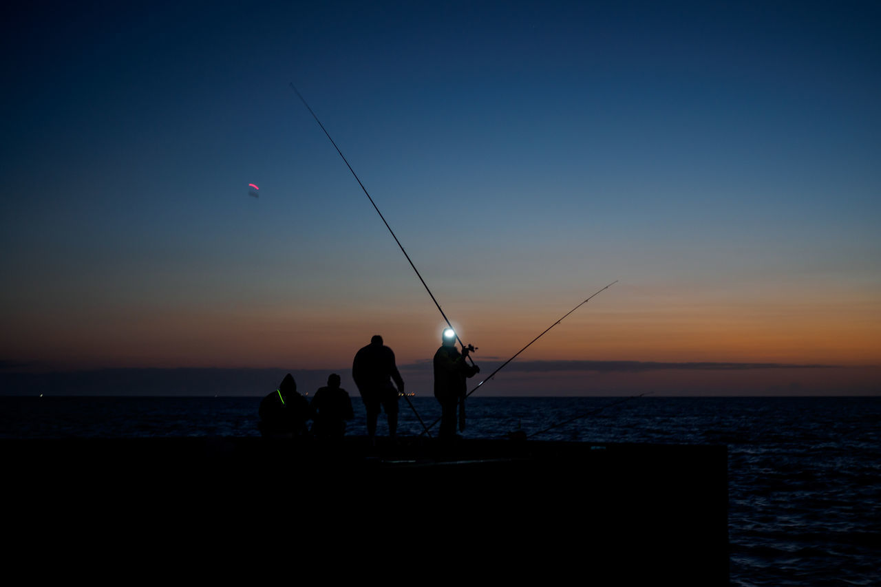 fisherman @ night Beauty In Nature Fishing Fishing Pole Fishing Rod Fivedaysporto Full Length Holding Horizon Over Water Leisure Activity Lifestyles Men Nature Outdoors Real People Scenics Sea Silhouette Sky Standing Sunset Togetherness Tranquil Scene Tranquility Water Weekend Activities