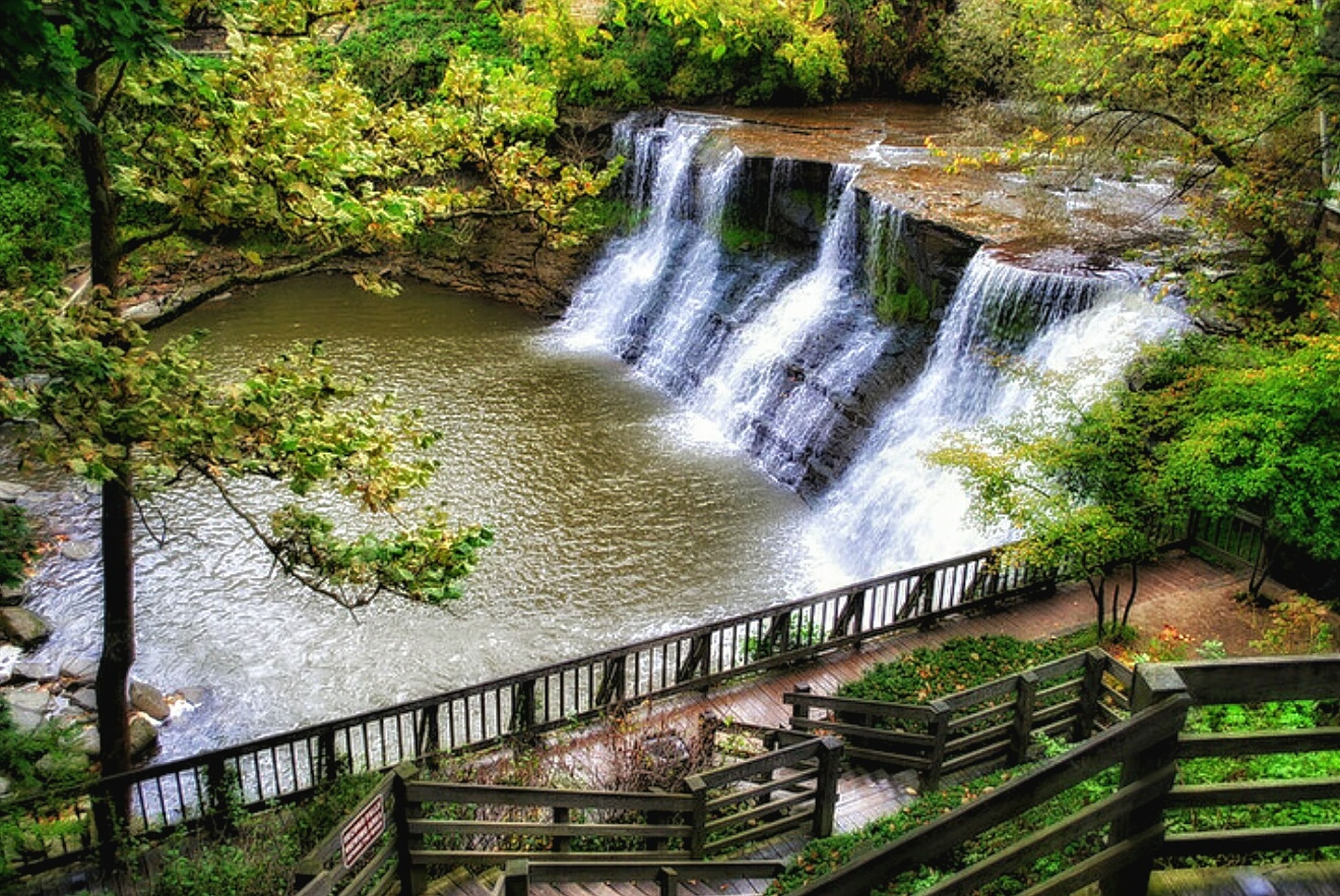 Waterfall Water Beauty In Nature Nature Tranquil Scene Flowing Water Long Exposure Tree Steps Green Color My Favorite Place Chagrin River In Chagrin Ohio❤