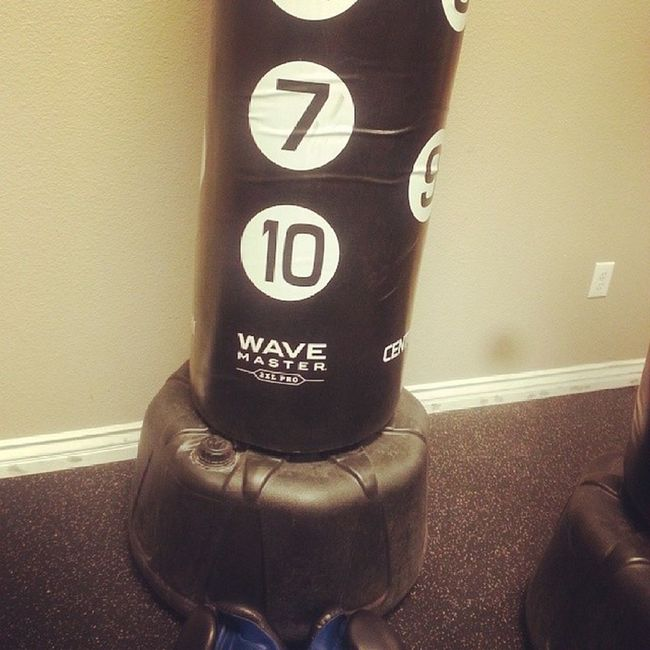 AnytimeFitness earlier I beat this bitch up bad had me sweating like crazy lol ChinoHills Punchingbag Boxing