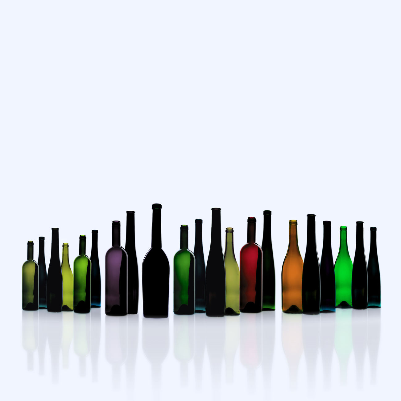 Alcohol Arrangement Choice Cut Out In A Row Large Group Of Objects No People Studio Shot Variation White Background Wine Bottles On Table