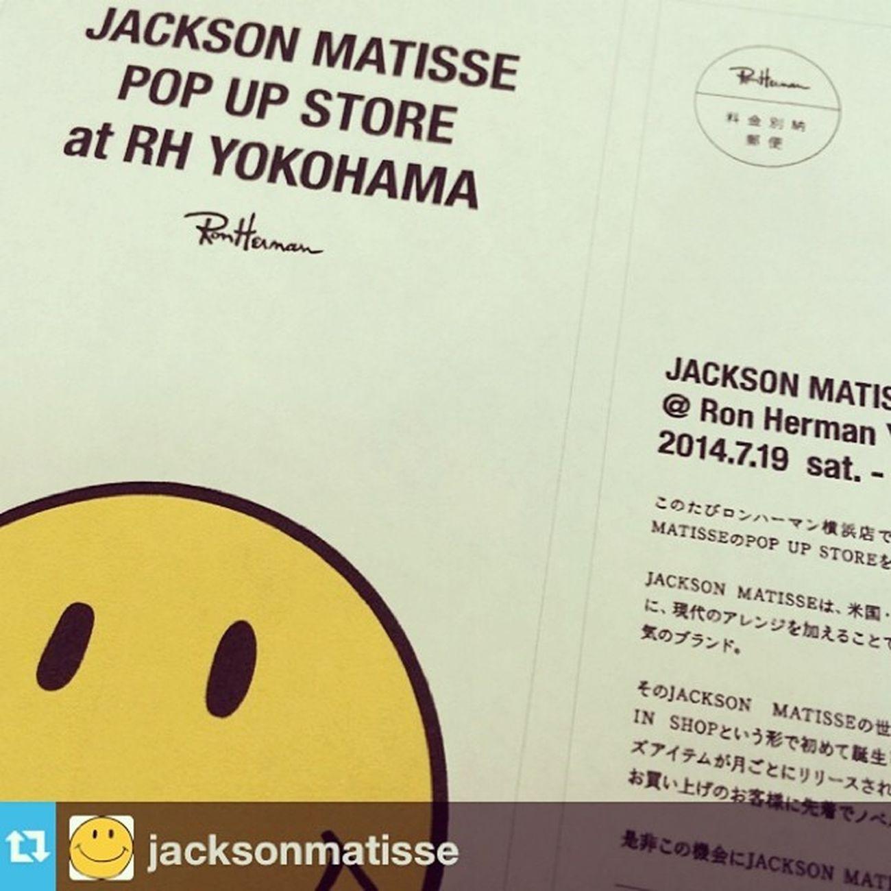⋆ ⋆ 楽しみです◡̈⃝ ⋆ #jacksonmatisse#ronherman ⋆ #Repost from jacksonmatisse --- YOKOHAMAに半年間、お邪魔させて頂きます!!