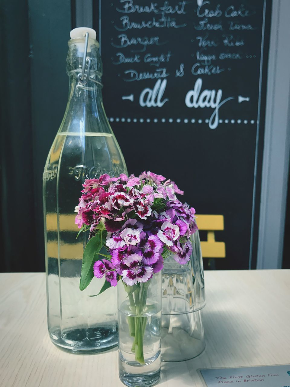 flower, blackboard, table, freshness, no people, indoors, vase, close-up, fragility, nature, day