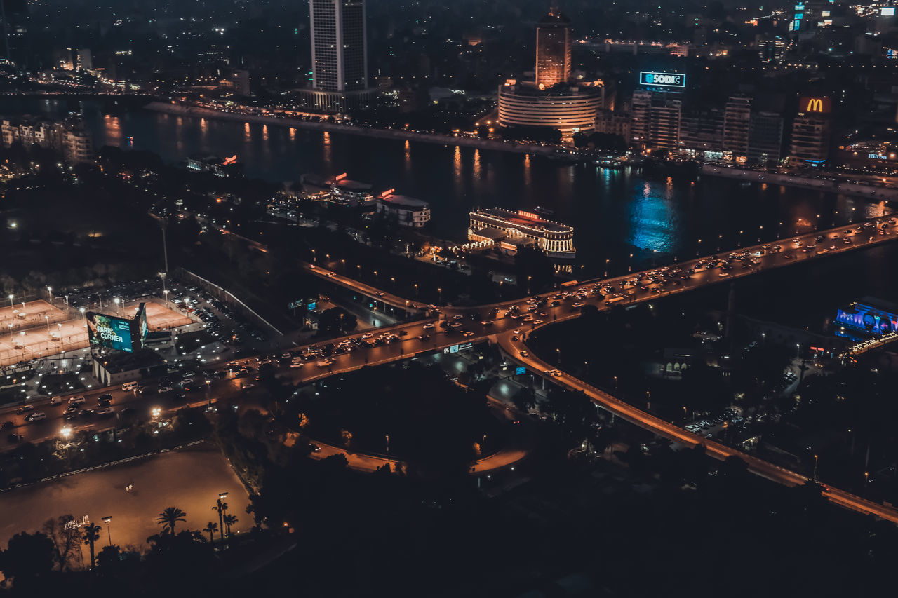 cairo nile at night ! Night Illuminated Outdoors High Angle View Architecture Car City Life City Street Cityscape Sky Scrapers Bridge - Man Made Structure Transportation Building Exterior Built Structure Modern Urban Sky Skyline Neon Life EyeEm Selects Cairo