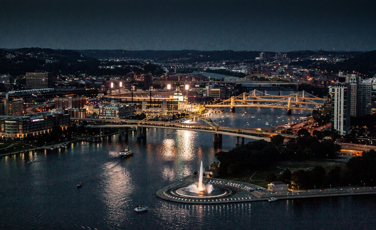 Cities At Night Pittsburgh Allegheny River Cityscapes