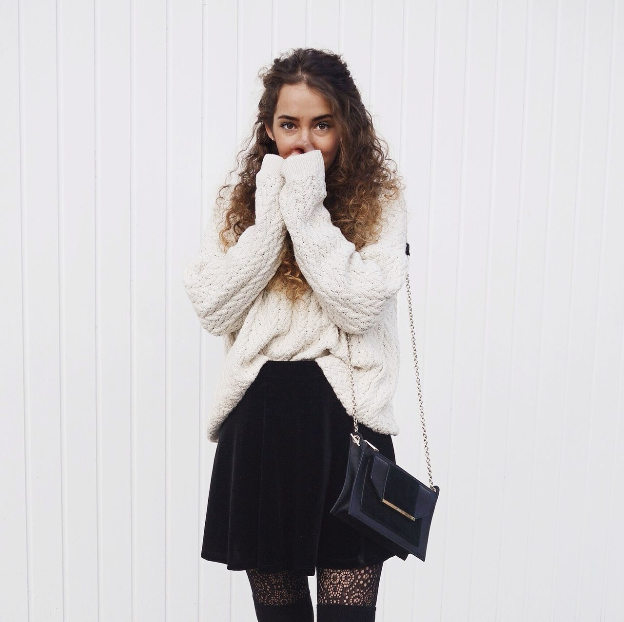 Ootd Curly Hair Smile Hiding Face Looking At Camera Happy Sweater Minimalism Winter