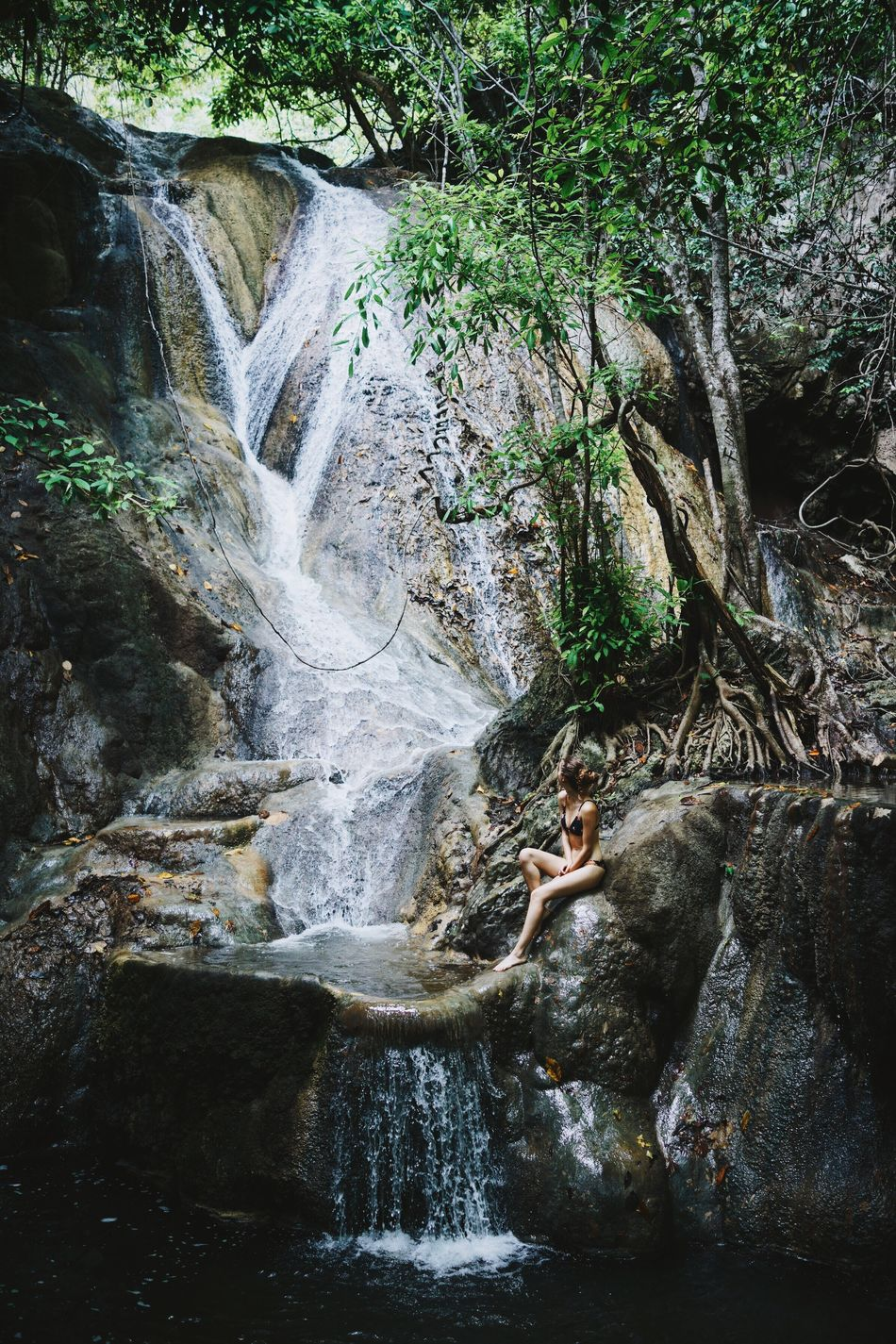island adventures with my girl Waterfall Nature Water Beauty In Nature Scenics Rock - Object Flowing Water Travel Destinations Outdoors Adventure Jungle Tropical Forest Island Girl Summer Travel Green River Tranquil Scene Idyllic Flowing ASIA INDONESIA Sumbawa