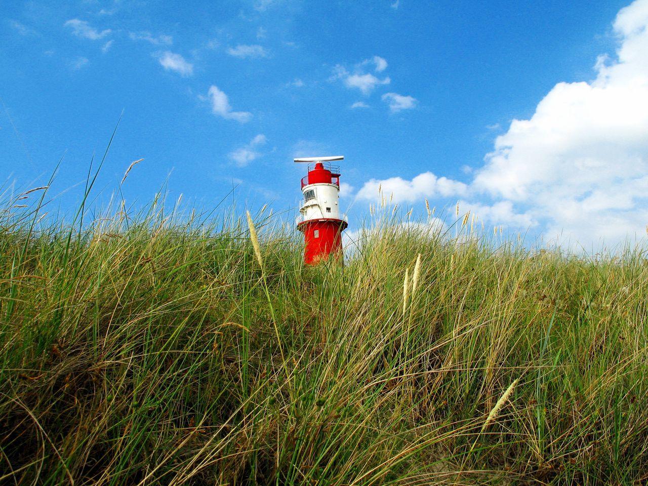 Rot-weisser Leuchtturm steht in den Dünen Blauer Himmel, Weiße Wolken Dünengras Dünenlandschaft Grass Red-white Rot-weiss Roter Leuchtturm Sommer