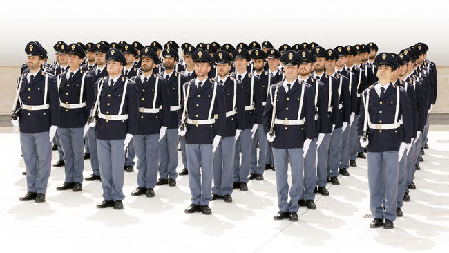 Rome, Italy - May 25, 2016: Deployment of Italian police department during the celebrations for the 164th anniversary of the State Police. Cadet Celebration Cropped Deployment Group Of People In A Row Parade Police Policeman Swords Uniforms