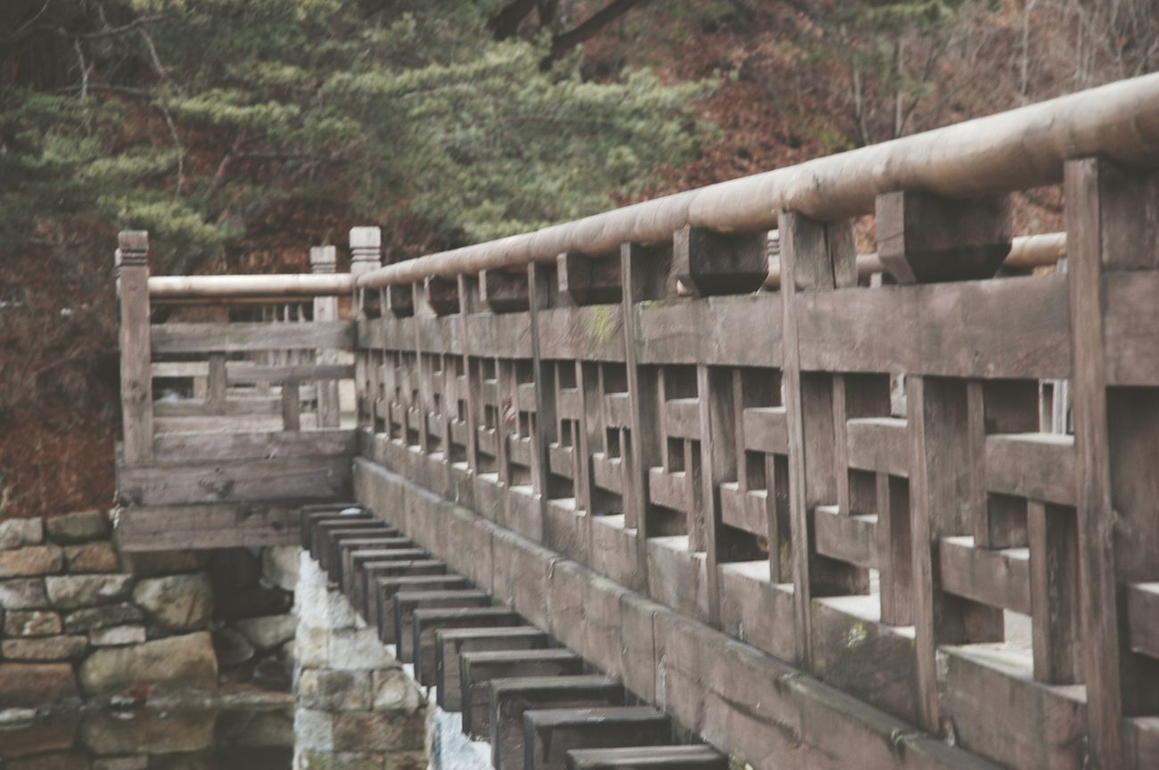 a Korean Traditonal style Wood Bridge at 소수서원 경북 영주 South Korea