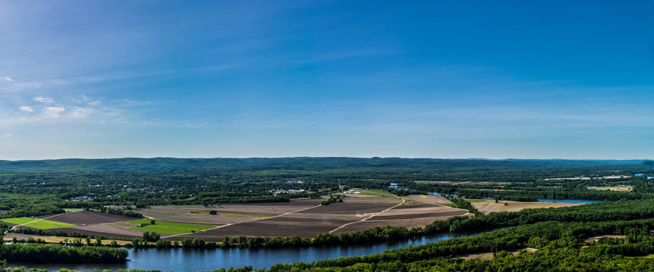 Blue Sky And White Clouds Connecticut River Farmland Countryside Northampton Northampton Airport Panoramic Landscape River Skinner State Park Summit House Trees The Great Outdoors - 2017 EyeEm Awards