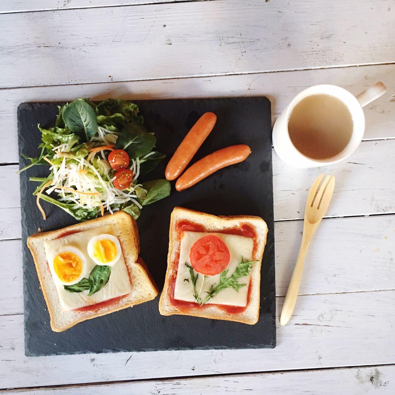 お花トースト 朝ごはん パパめし シングルパパ Breakfast Onthetable あさごはん ブルックリンスレート おはよう