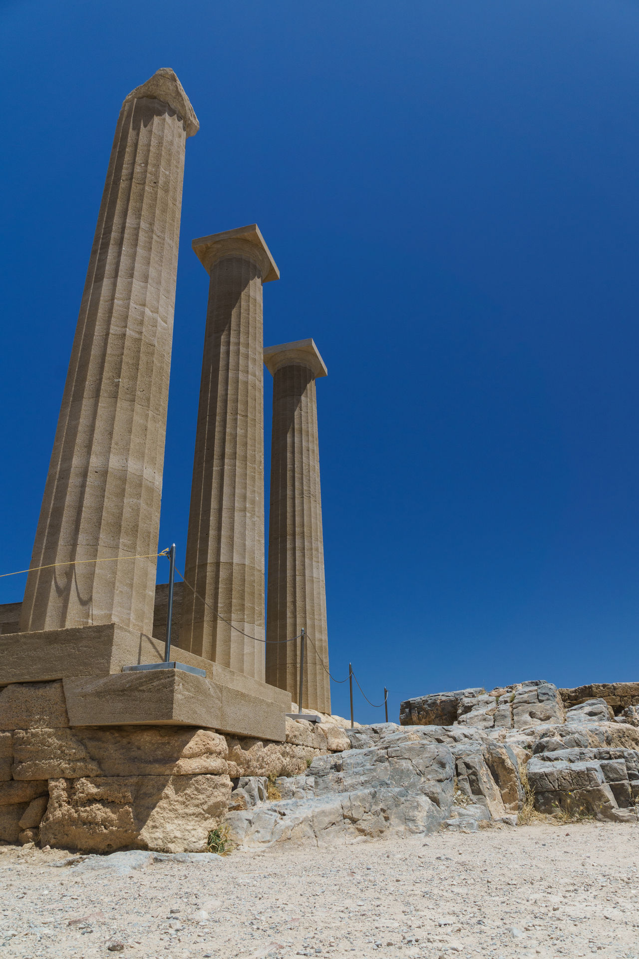 Akropolis Ancient Ancient Civilization Architectural Column Architecture Blue Built Structure Clear Sky Day History Lindos Low Angle View Nature No People Outdoors Rhodos Rock - Object Sky Travel Travel Destinations