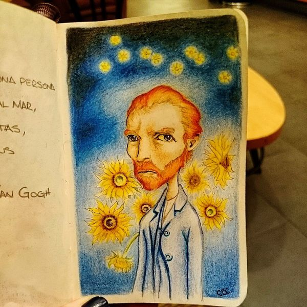 "Finished, thanks for my drawing love it @CarlosBetancourt ""Vincent van Gogh through your eyes..."" Art, Drawing, Creativity Art Vangogh Colors"