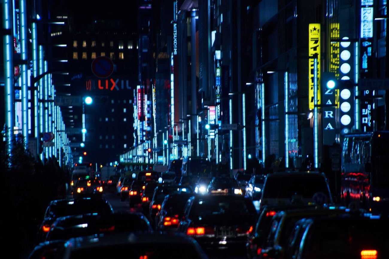 Traffic Transportation Car City City Street Night Illuminated Yellow Taxi Travel Destinations Road No People Outdoors Urban Lifestyle Tokyo,Japan Japan Photography Tokyo Streetphotography Tokyo Street Photography Eye4photography  EyeEm Best Shots City Life Futuristic Row Cars Transportation