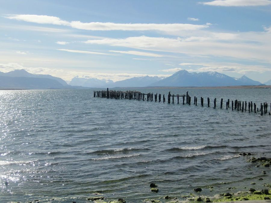 Puerto Natales Pier Muelle Sea Mountains Landscape Peace Calm Relax Relaxing Rustic Shore Blue Wave Idyllic Chile Tranquility Remote Tranquil Scene