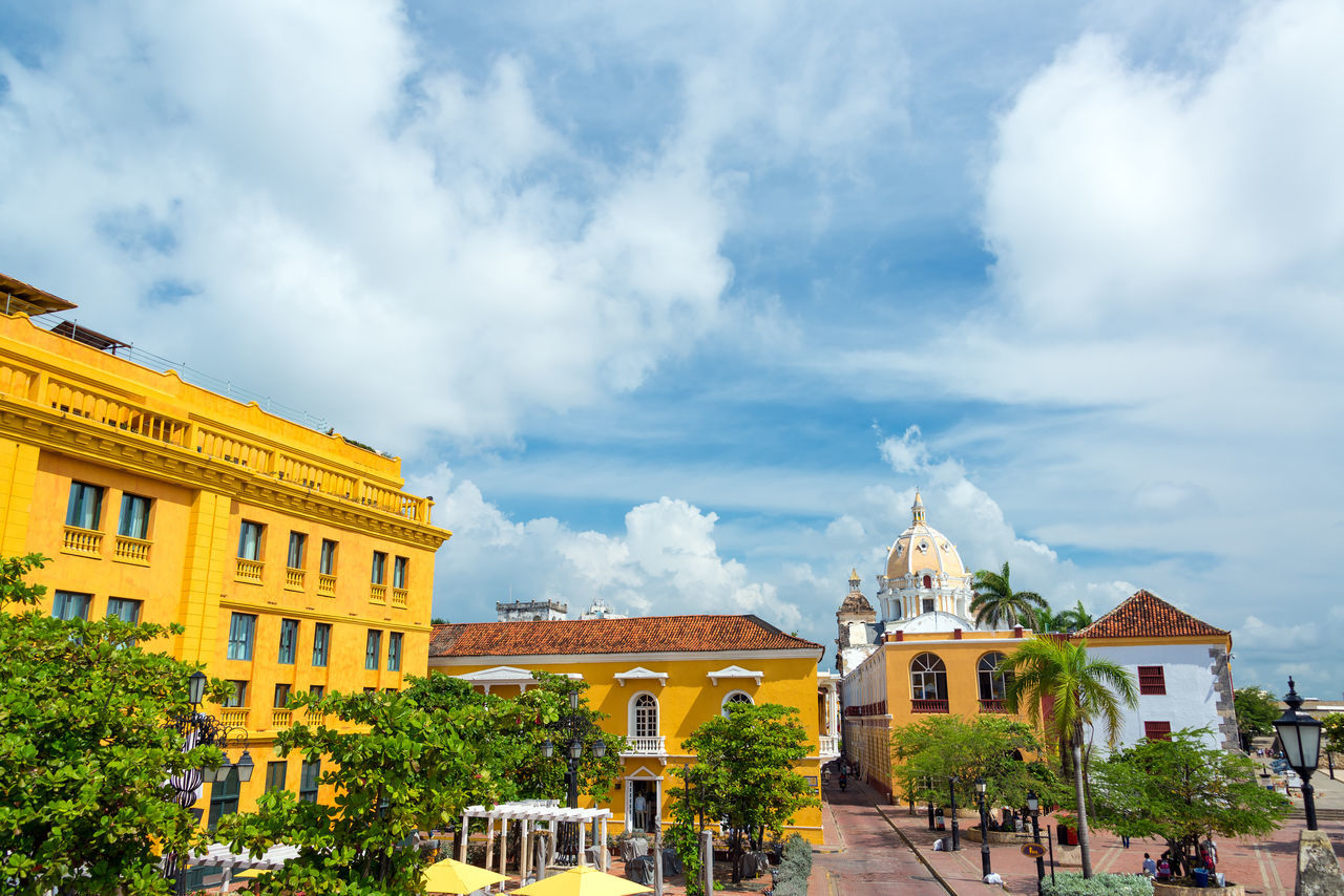 Historic colonial plaza in Cartagena, Colombia America Architectural Architecture Beautiful Building Buildings Cartagena Castle Cathedral Church City Cityscape Colombia Colonial Design Downtown Façade Heritage Historical Landmark Latin Monuments Outdoors San Pedro Claver South