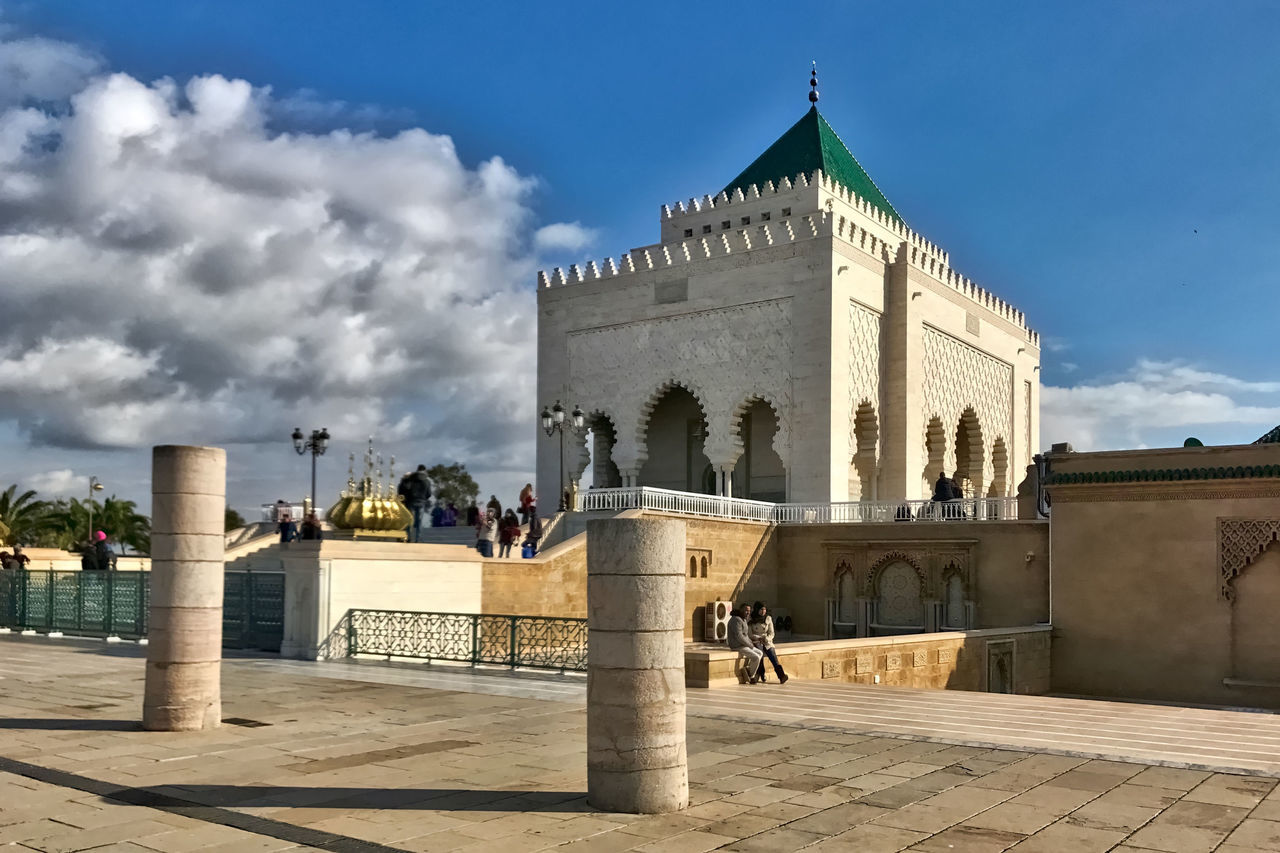 The mausoleum of the Moroccan kings at Rabat in Morocco. Architecture Building Building Exterior Built Structure City Clouds Day History Kings Mausoleum Moroccan Morroco Outdoors Pillars Rabat Sky Square Travel Destinations