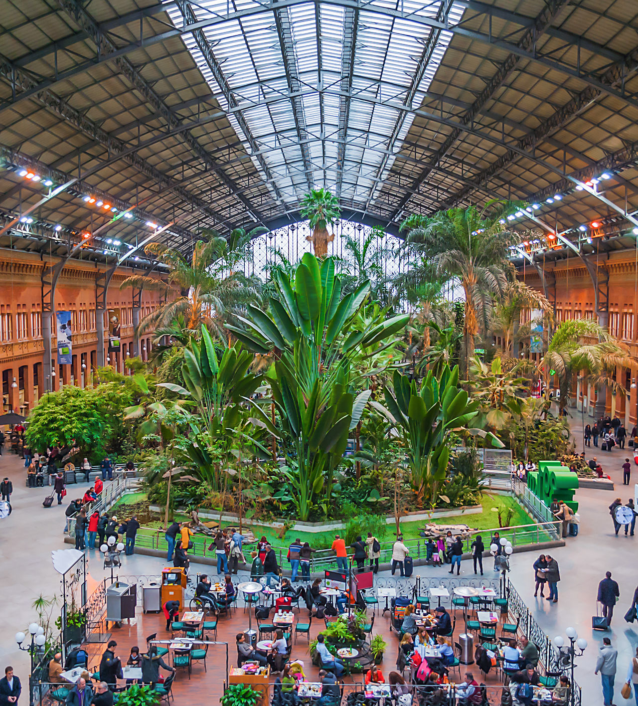 Agriculture Architecture Atocha Atocha Renfe Biology Botanical Gardens Day Greenhouse Growth Indoors  Large Group Of People Madrid Men Nature Palms People