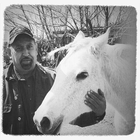 My dad with his favorite animal! Black & White Love Horses Horse Enjoying Life