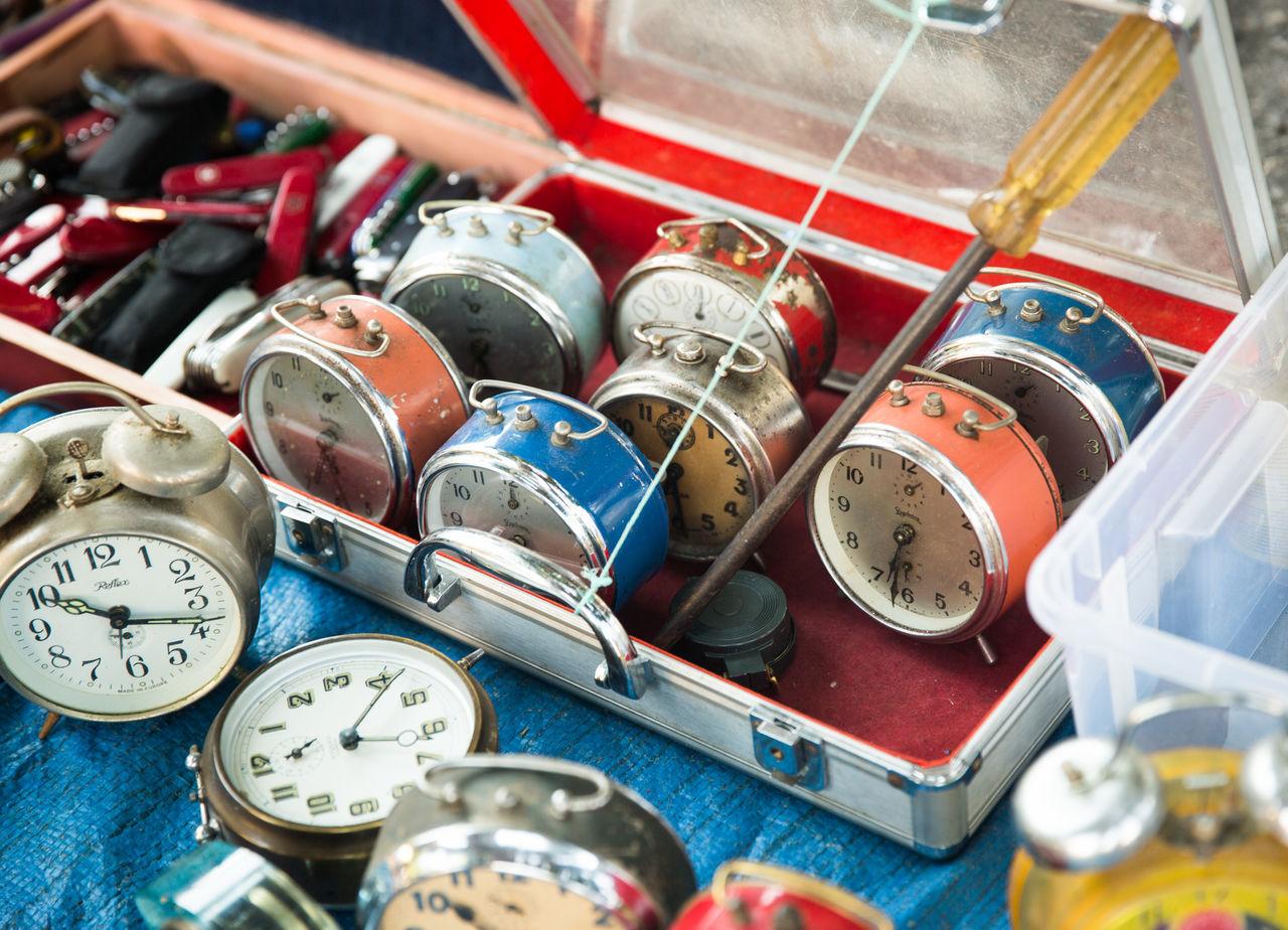 Abundance Alarm Clock Alarm Clocks Antiques Arrangement Clock Clocks Flea Market Flea Market Finds Flea Markets Garage Sale Large Group Of Objects Market Old-fashioned Retro Styled Time Variation Vintage Clock Vintage Clocks