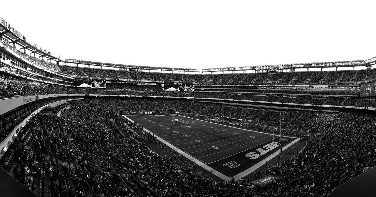 Final Jets game of the season Clear Sky Sky No People Outdoors Day Football Stadium Wide Shot Panaroma NY Jets Blackandwhite Black And White Black & White NFL Football Jets NYJets Black&white
