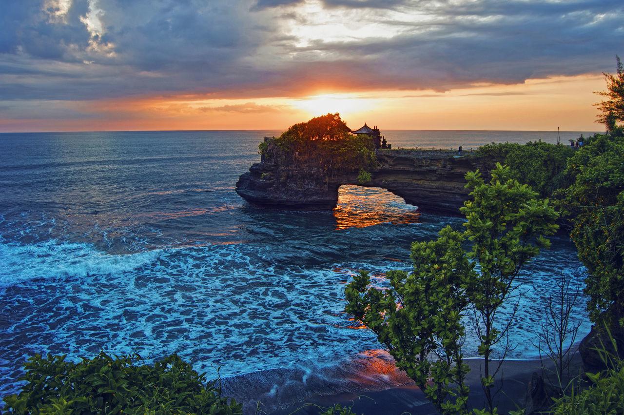 Bali Beach Horizon Over Water Nature Outdoors Sea Sunset Tanah Lot Temple Tourism Travel Destination