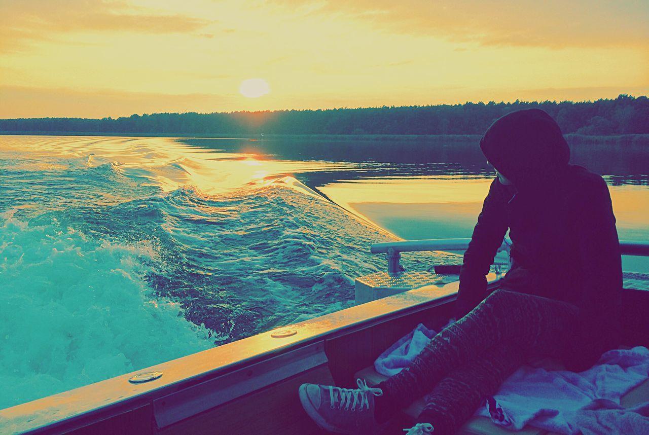 Sunset On A Boat after Wakesurfing Vividmoments Waves Boat Wake Calm Enjoying Life Enjoy The Moment Liveoutdoors