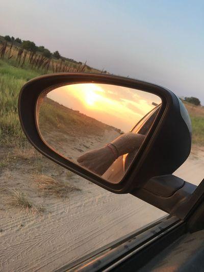 Durch die Dünen die Sonne hinter uns lassen. Side-view Mirror Car Nature Sun Vehicle Mirror Landscape Beauty In Nature