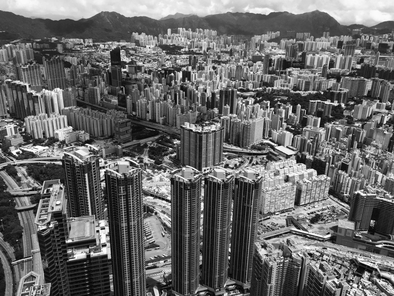 Skyscraper City Cityscape Tall - High Tower Aerial View Urban Skyline HongKong Panoramic Sky100 Blackandwhite Bnw City View  Fascinating