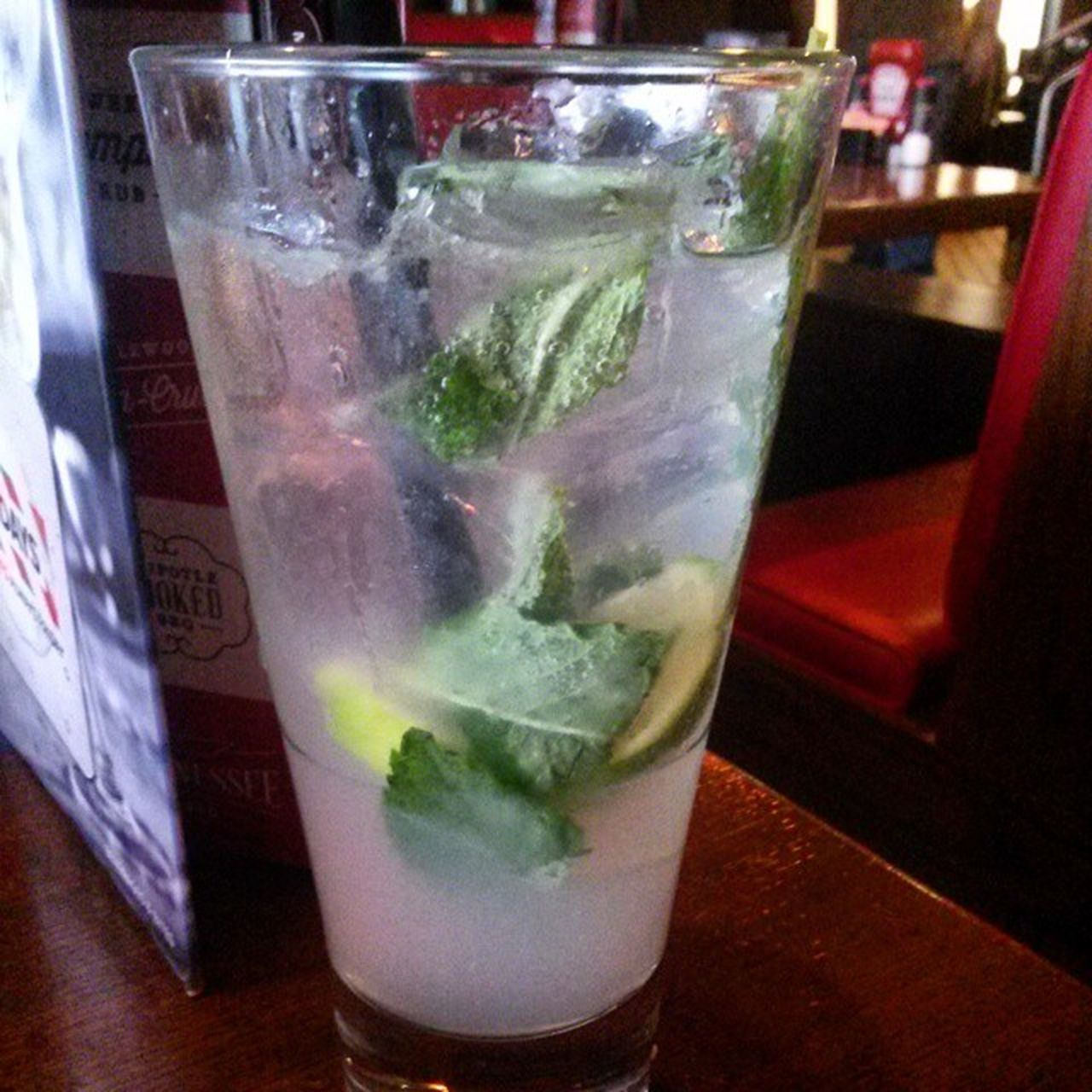 drink, drinking glass, food and drink, refreshment, cold temperature, mojito, cocktail, freshness, indoors, mint leaf - culinary, alcohol, drinking straw, close-up, tonic water, slice, ice cube, table, no people, day