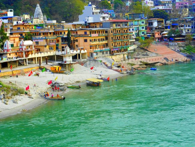 Rishikesh Riverside River View Streetphotography Water Nature Arts Culture And Entertainment Day Outdoors India Mountain Traditional Temple Scenics Beauty In Nature Green Color Multi Colored EyeEm Selects High Angle View Ganges. Ghats