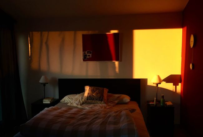 Absence Cozy Illuminated Indoors  Modern My Favorite Place Orange Hue Pillow Sunlight Streaming In Window