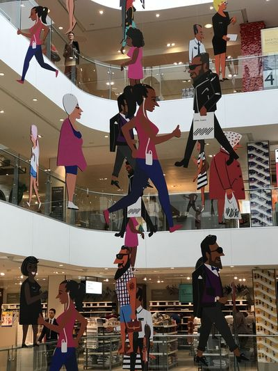 Shop Display, John Lewis Store Composition Fun GB Hanging London Low Angle View Unusual Capital City Full Frame Human Representations Indoor Photography Mobiles Multi Colored No People People Shop Display Shop Interior Standing Statues Store Decor Store Display Uk Vertical