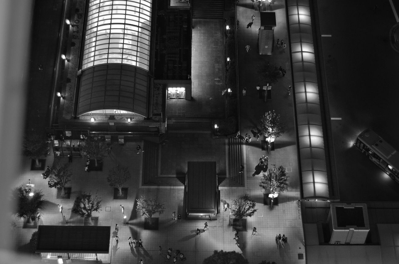 Night People Watching Night Photography A Bird's Eye View People Silhouettes People Shadow Light And Shadow Night Walking People People Photography Silhouettes Shadows Shadows & Lights Blackandwhite Monochrome Capture The Moment
