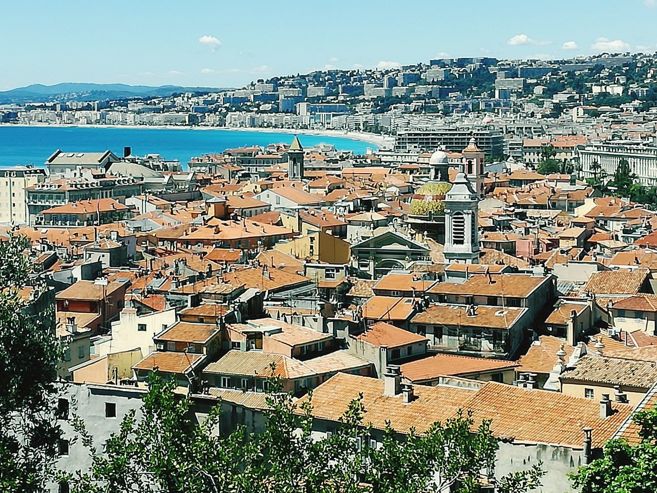 Sea Nature No People Day Sky Côte D'Azur Ausblick View über Den Dächern Von Nizza Above The Roofs Travel Destinations Beach Landscape Cityscape City View  Roofs