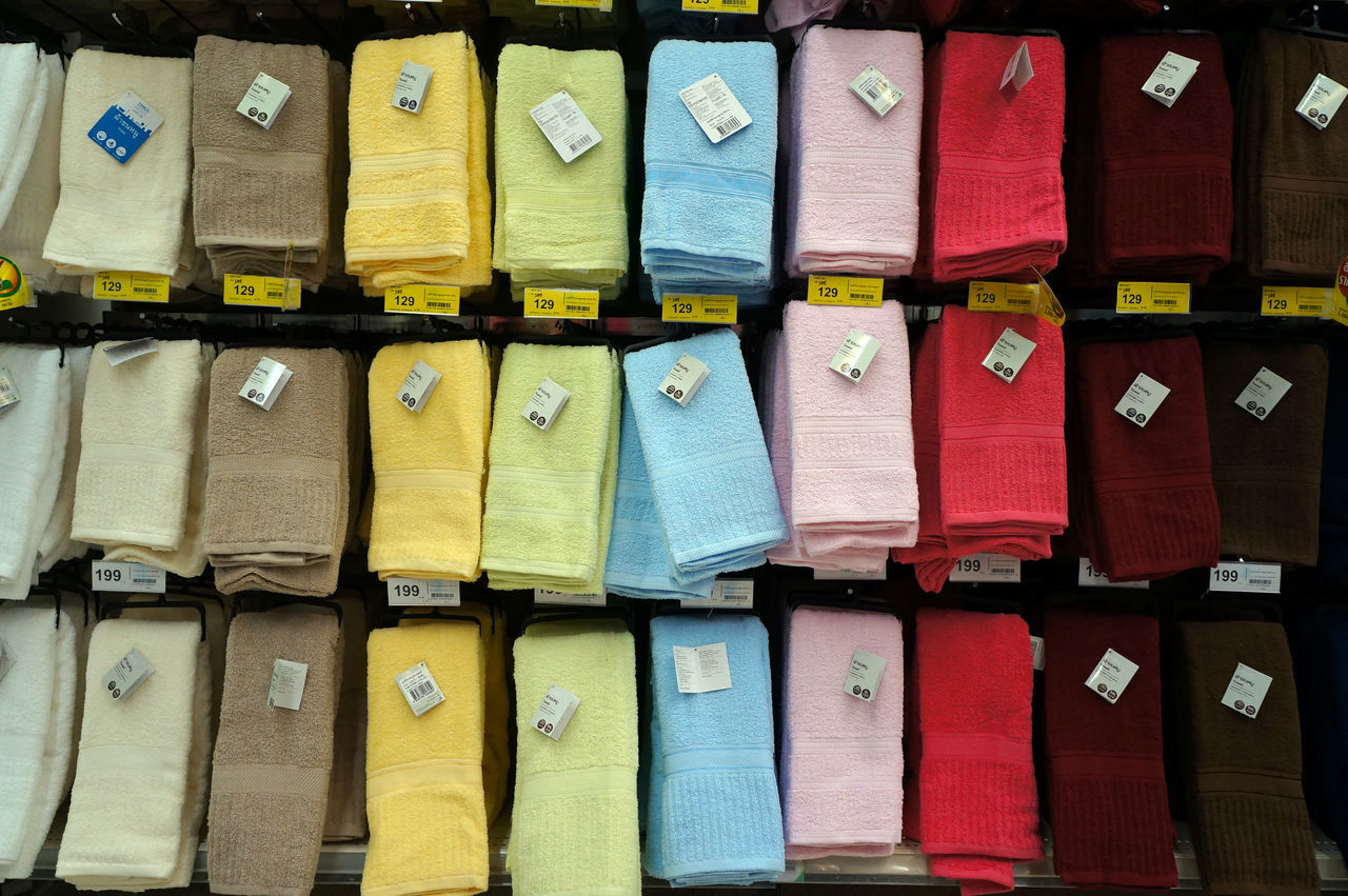 Colour Department Fabric Goods Mall Sell Shop Shopping Store Towel