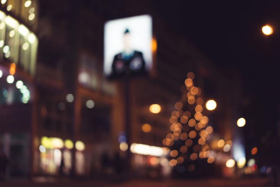 Checkpoint Charlie Architecture Berlin Celebration Checkpointcharlie Christmas Christmas Decoration Christmas Lights Christmas Tree City City Lights Close-up Defocused Illuminated Lighting Equipment Night Nightphotography No People Outdoors Tree Urban