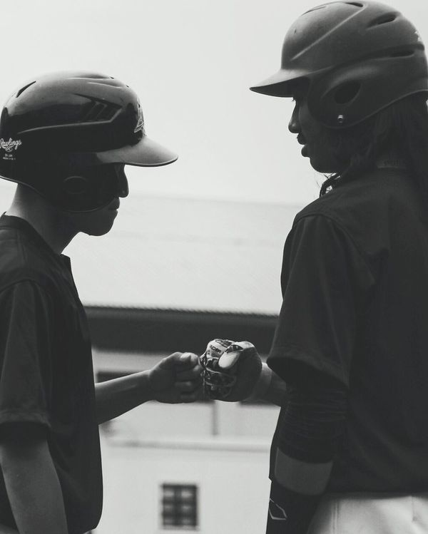 support each other Two People Men People Spirit Tournament Day  Softball Spirits Supports Fistbump