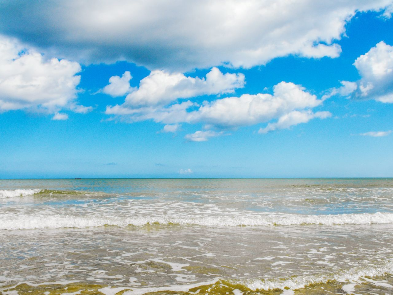 Sea Blue Beach Sky Sand Cloud - Sky Horizon Over Water Water Landscape Outdoors Coastal Feature No People Nature Day Norfolk Uk Clouds Britain