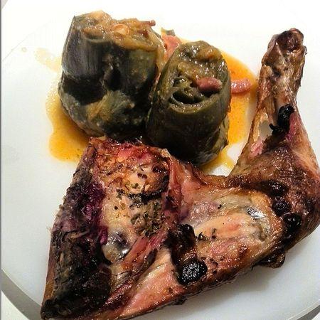 Comer es un Placer Polloasado Roastchicken alcachofas artichokes con bacon eat pleasure iluvumum