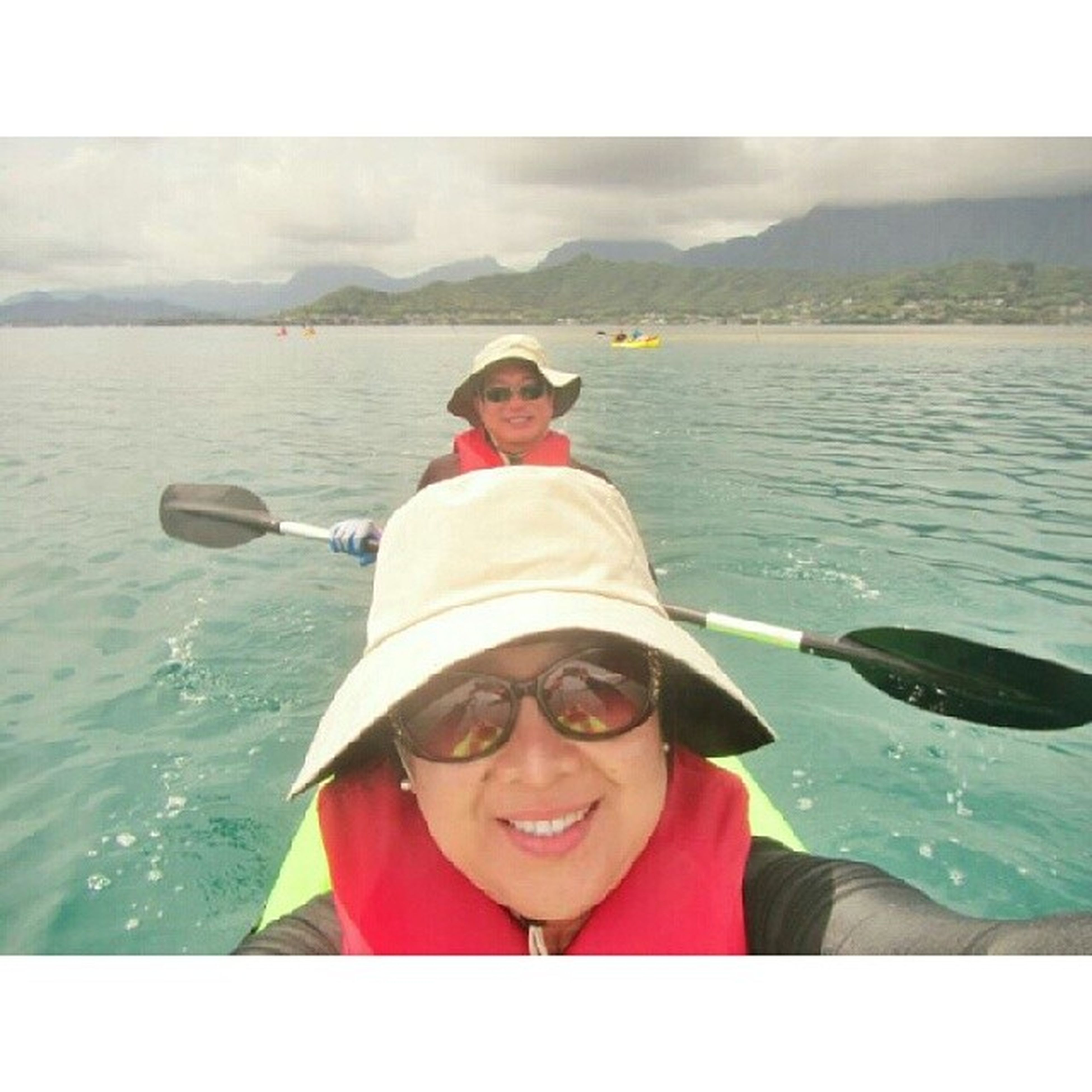 I'm taking a Selfie while my hubby continues to paddle and moving us forward. Tandemkayak Wateradventures Paddling kayakingtrip kayakingadventures hawaiilife lovingwhatido livingthegoodlife luckywelivehawaii lovelivelife