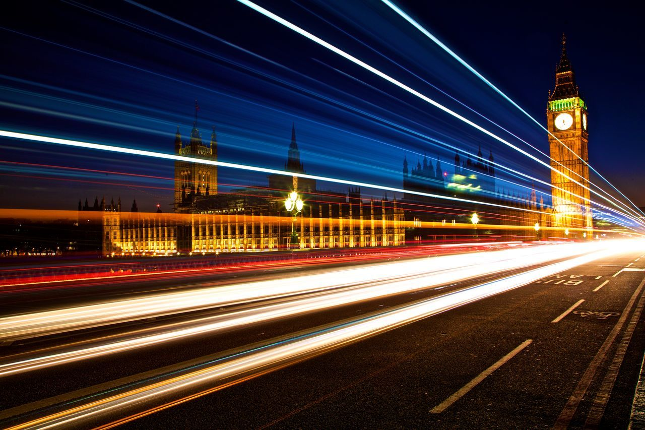 Architecture Blurred Motion Building Exterior Built Structure City Cityscape Houses Of Parliament On The River Thames Illuminated Light Trail Long Exposure Motion Night Speed Traffic Traffic Traffic At Night Transportation Zoom Burst Zoom In