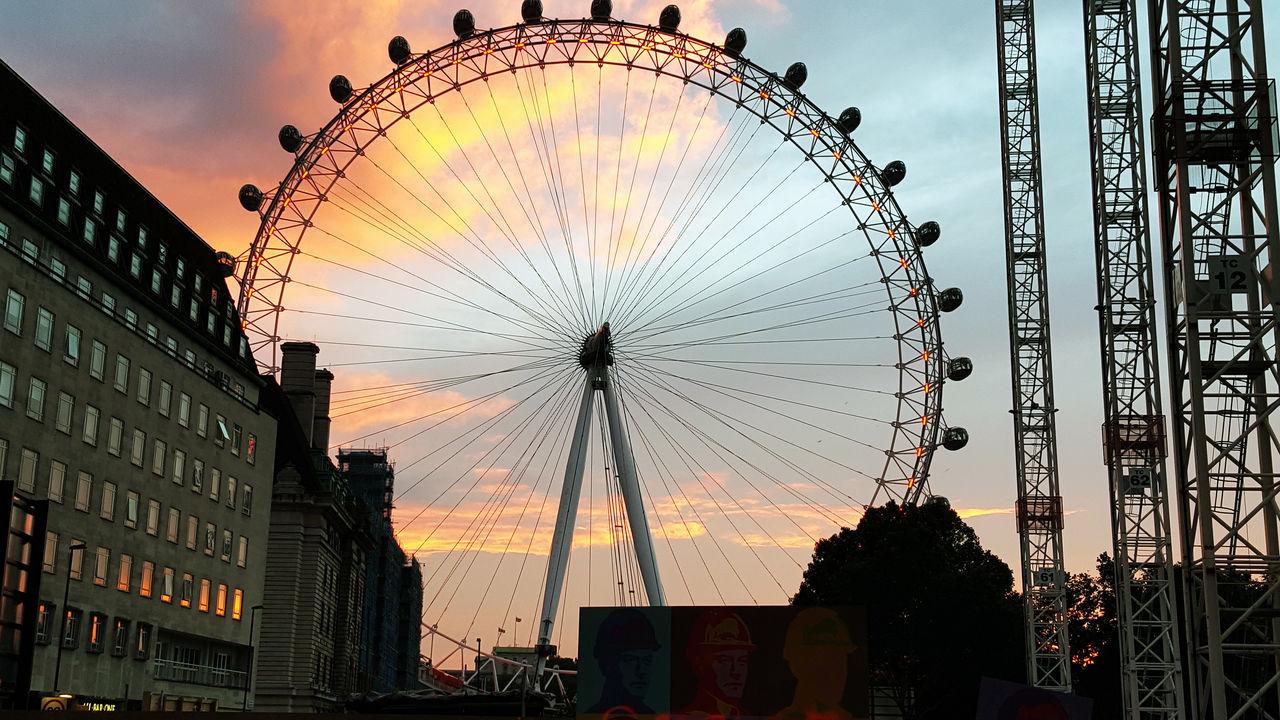 Amusement Park Architecture Arts Culture And Entertainment Building Exterior Built Structure Day Dusk Ferris Wheel London Eye Low Angle View No People Outdoors Sky Sunset