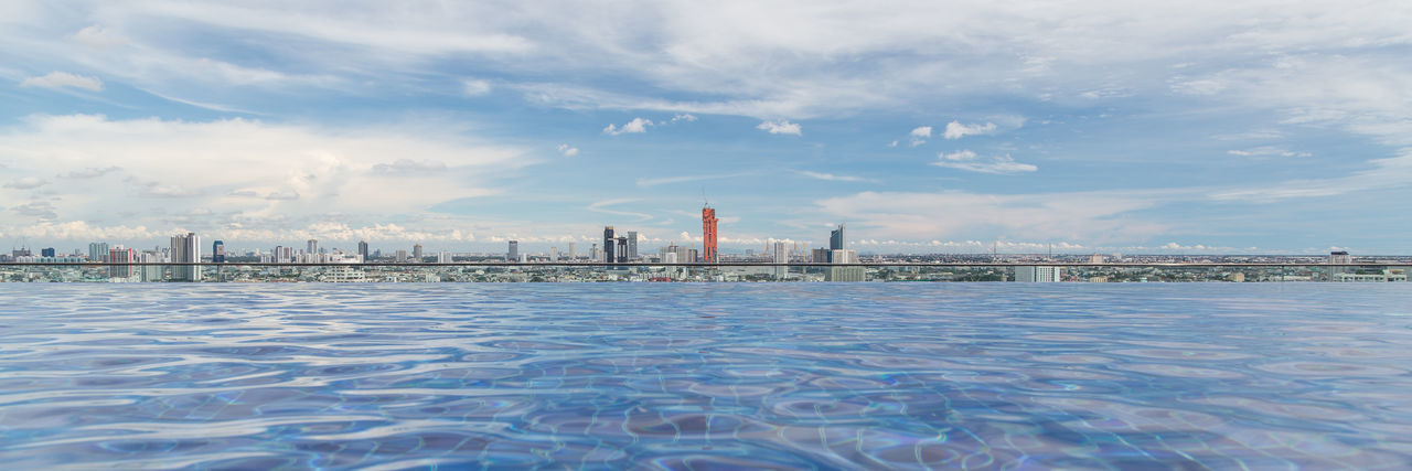 Bangkok City Skyline Architecture Avani Bangkok Sky Bangkok Skyline Building Exterior Built Structure City Cityscape Cloud - Sky Day First Eyeem Photo Hotel Hotel Roof Top Pool Modern No People Pool Sky Skypool Skyscraper Swimming Pool Urban Skyline Water Waterfront