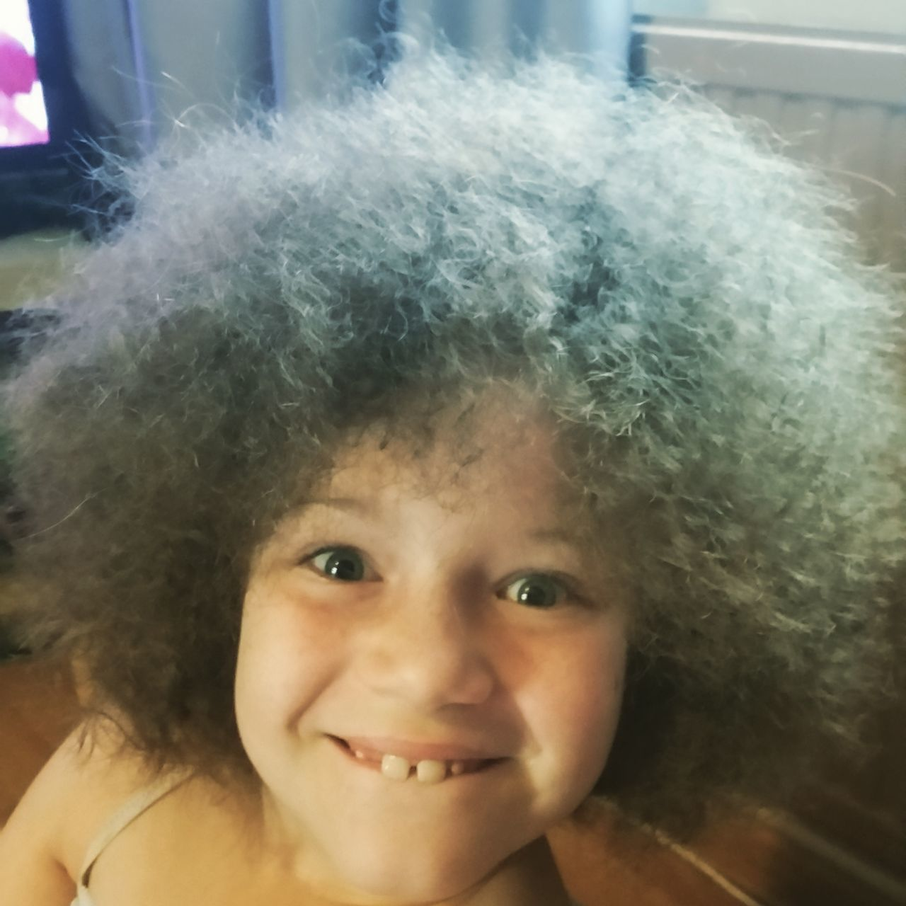 When dad does your hair. Child Smile Afro Hair Style Curly Hair New Do