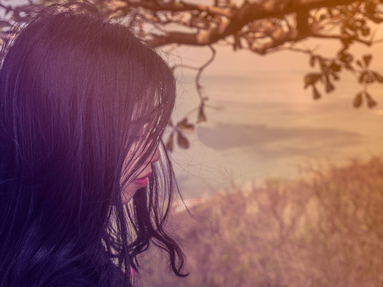 Black Hair Branches Close-up Day Emotional Photography Emotional Photos Fair Skin Girl Hair Headshot Lifestyles One Person Outdoors Photoshop Real People Red Lips Side View Tree Getting Inspired Getting Creative Beauty In Nature Tranquility