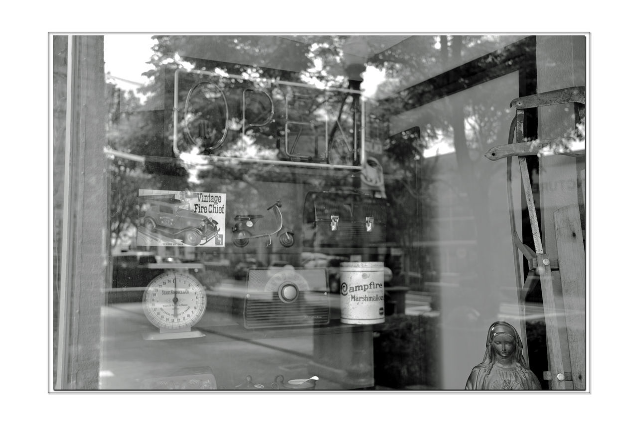 How I Long For Yesterday 1 Hayward, Ca. Window Display Antique Store Collector's Item Bnw_friday_eyeemchallenge Bnw_retro Nostalgia Old-fashioned Antiquated Retro Monochrome Photograhy Monochrome Black & White Black & White Photography Black And White Black And White Collection  Radio Sled Scale  Vintage Toy Fire Truck Lunch Box Tin Can Of Marshmallows Neon Sign Things From Days Gone By