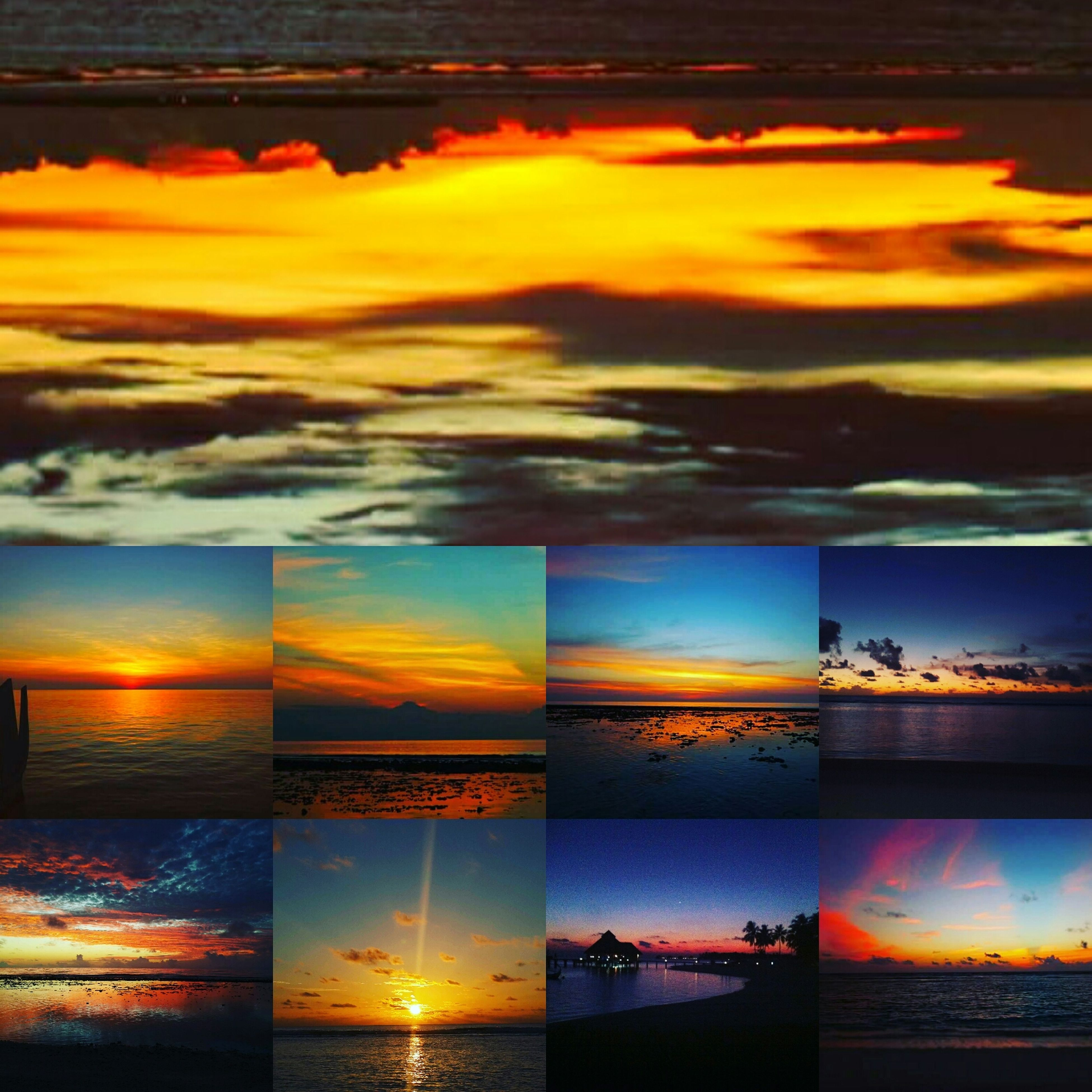 sunset, water, sea, collage, yellow, tranquility, scenics, orange color, cloud, in a row, tranquil scene, outdoors, beauty in nature, dramatic sky, nature, cloudscape, no people, montage, water surface, majestic, tourism, vibrant color