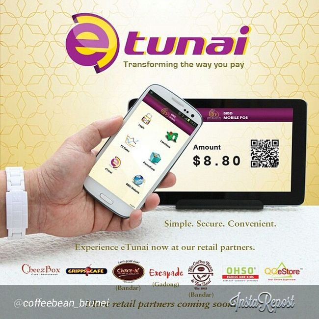 ETunai from @bankislambruneidarussalam is now available at @coffeebean_brunei give it a try! Brunei InstaBruDroid Andrography LoveFoodHateWaste