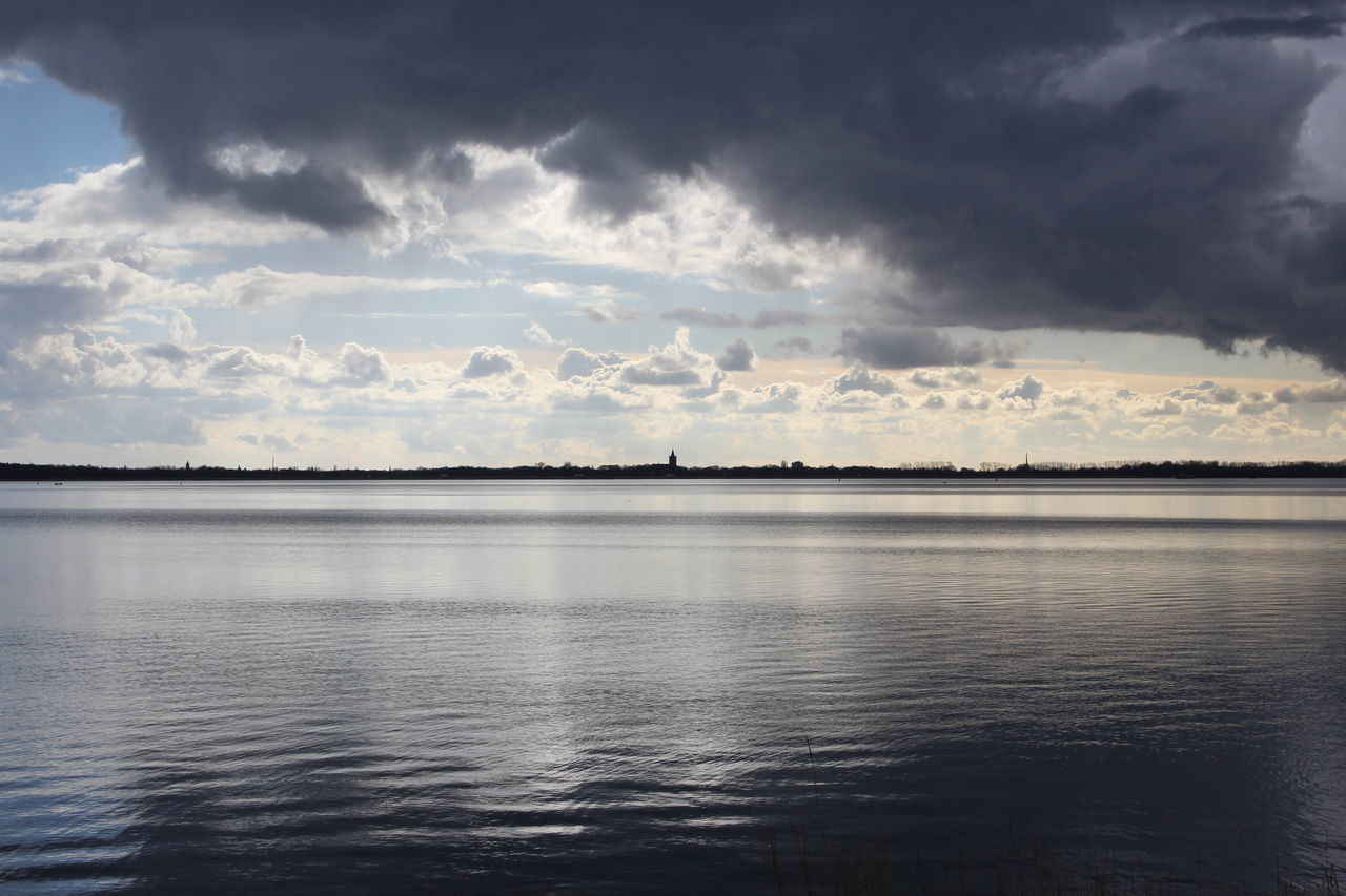 Almere Calm Cloud Clouds Clouds And Sky Distant Flevoland Gooimeer Horizon Over Water Huizen Mirroring Mirroring In Water Outdoors Scenics Sky Tranquil Scene Tranquility Water